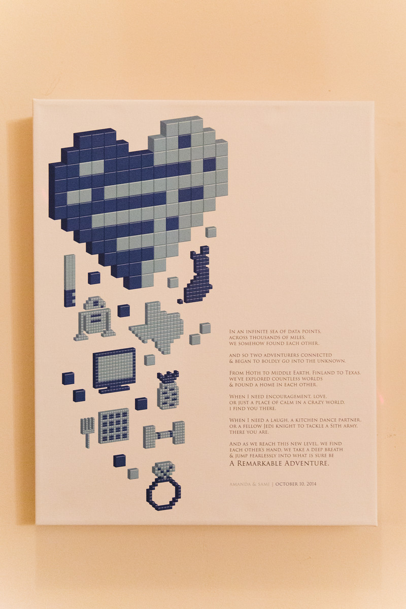Pixelated Love Story Art Canvas