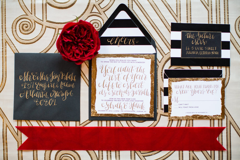 New Years Eve Wedding Invitations featured on Wedding Chicks