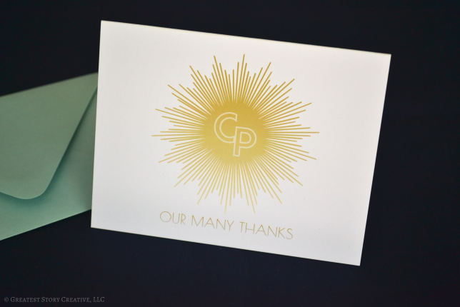 Folded Art Deco Thank You Notes