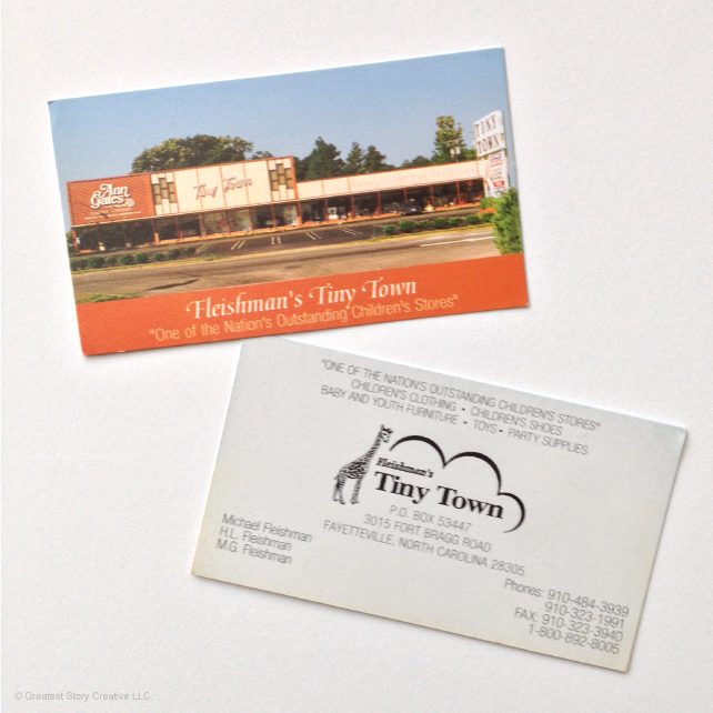 BEFORE:  Tiny Town's business cards for 30 years, designed by my grandfather, Herbert