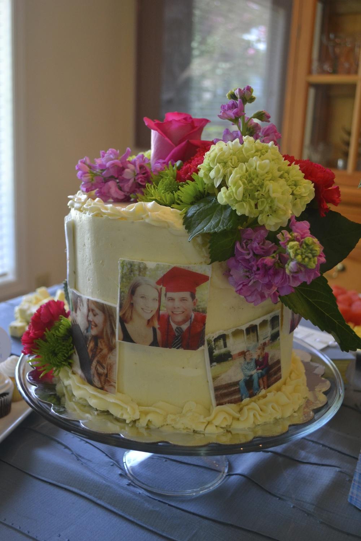 Bridal Shower Instagram Cake with Fresh Flower Topper