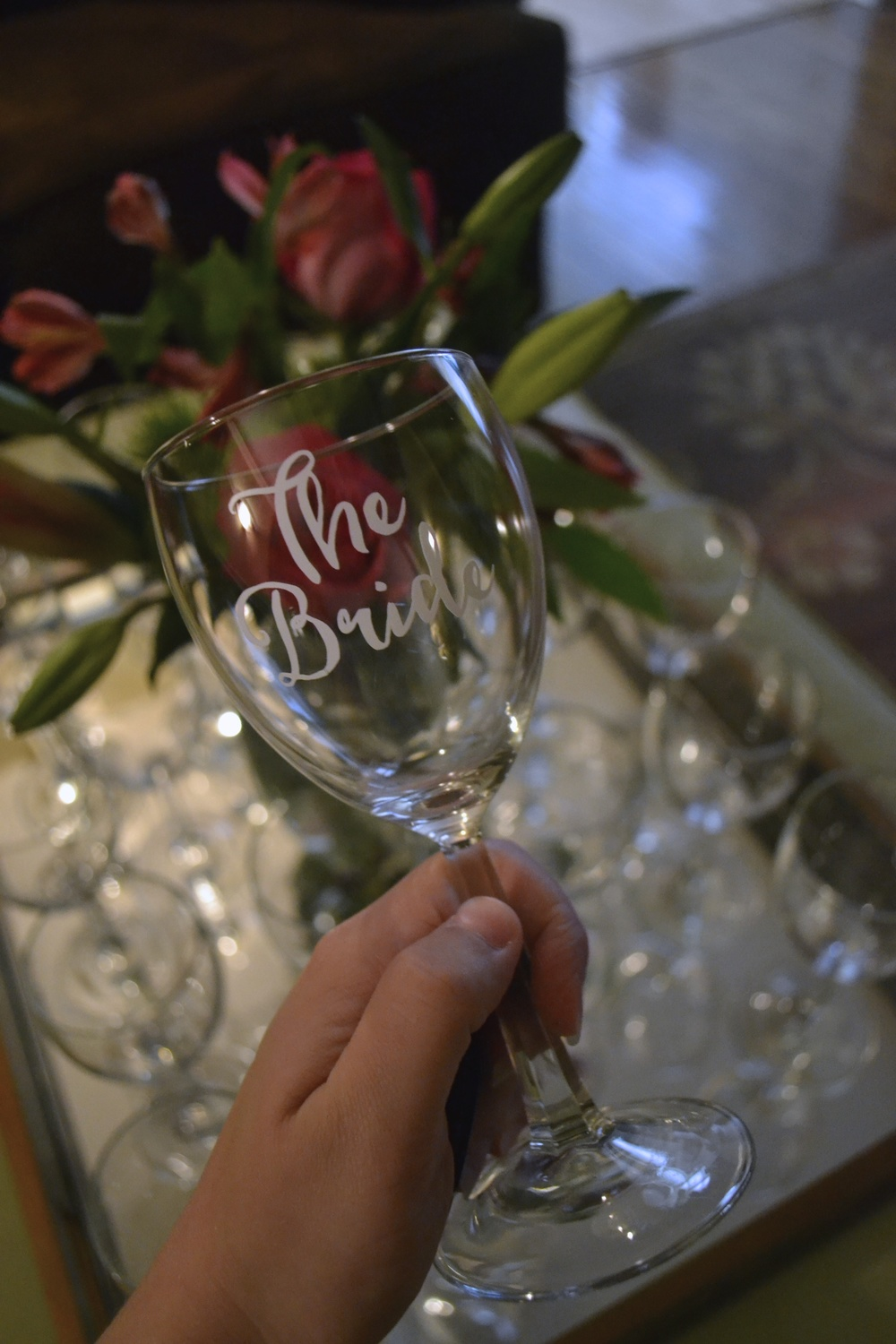 Personalized Wine Glass for The Bride - Bridal Shower by Greatest Story Weddings