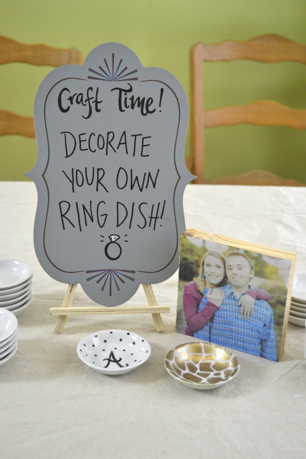 """Decorate a Ring Dish"" An Easy DIY Station for a Bridal Shower or Engagement Party 