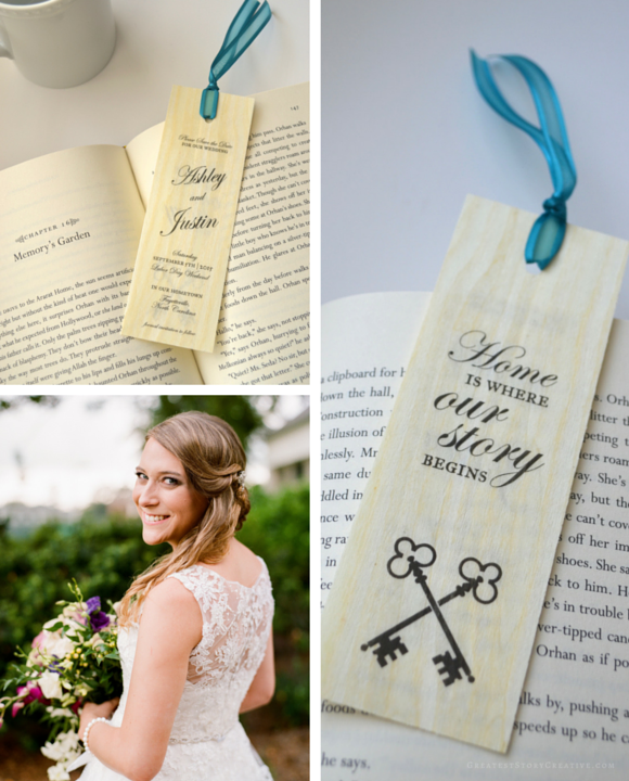 "Wood Bookmark Save the Dates ""Home is where our story begins"" - Custom Designed by Greatest Story Weddings"