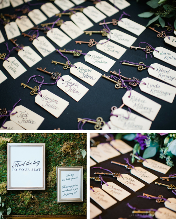 "Handlettered Key Escort Tags for a ""Home""-themed Wedding by Greatest Story Weddings 