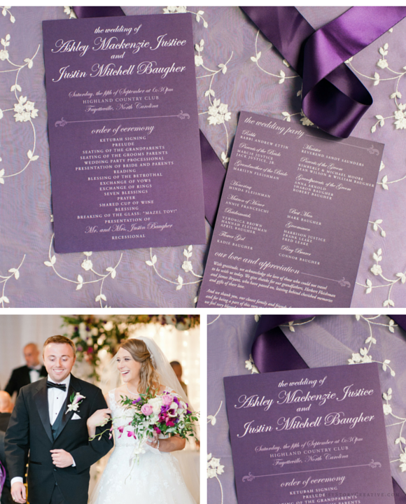 "Purple Double-Sided Programs for a ""Home"" Themed Wedding by Greatest Story Weddings 