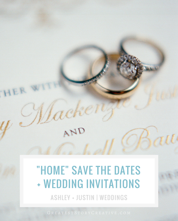 """Home"" Save the Date Bookmarks and Gold Engraved Wedding Invitations from Greatest Story Weddings"