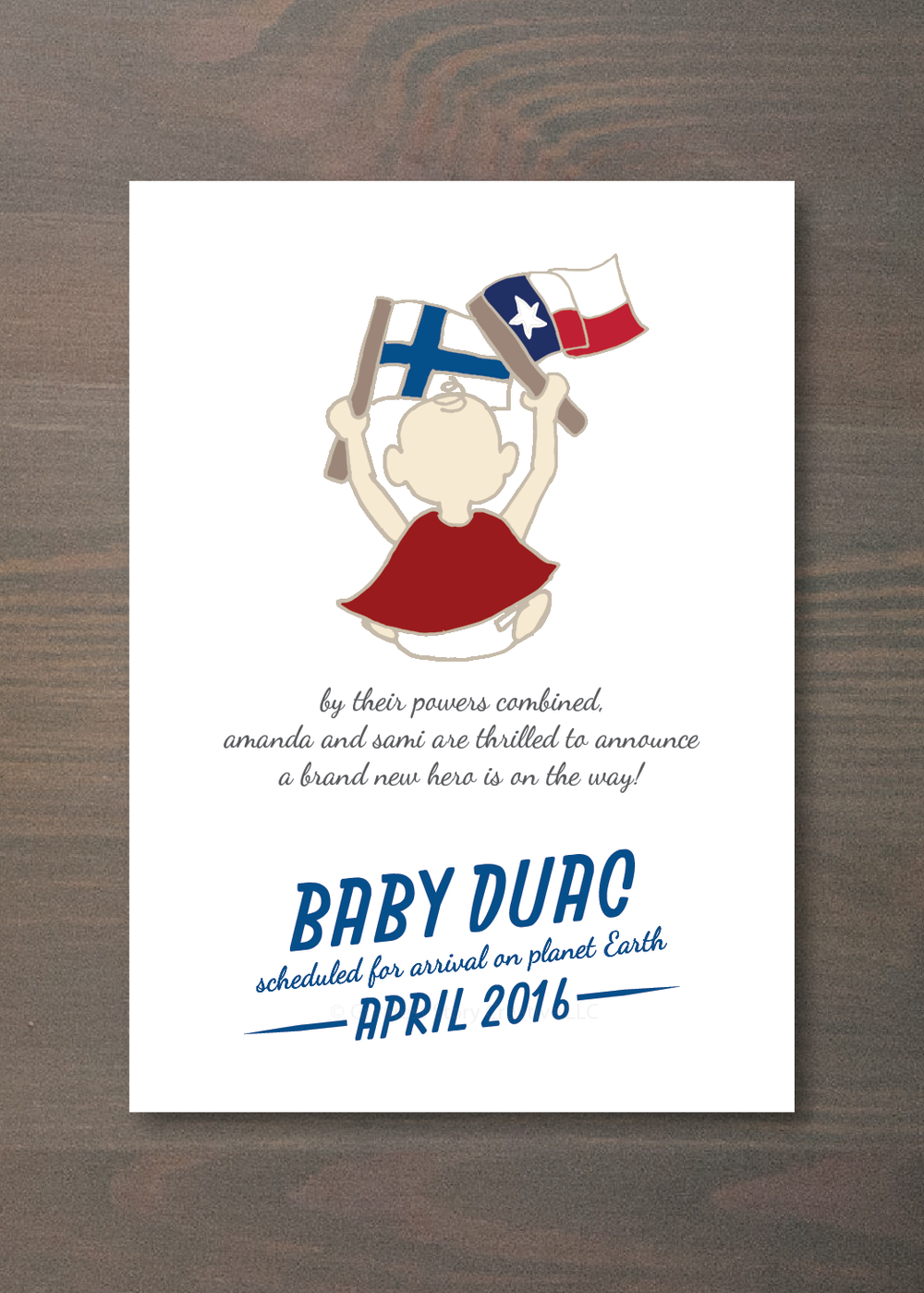"""Super Hero Baby"" Custom Pregnancy Announcement Written + Designed by Greatest Story (www.greateststorycreative.com/events)"