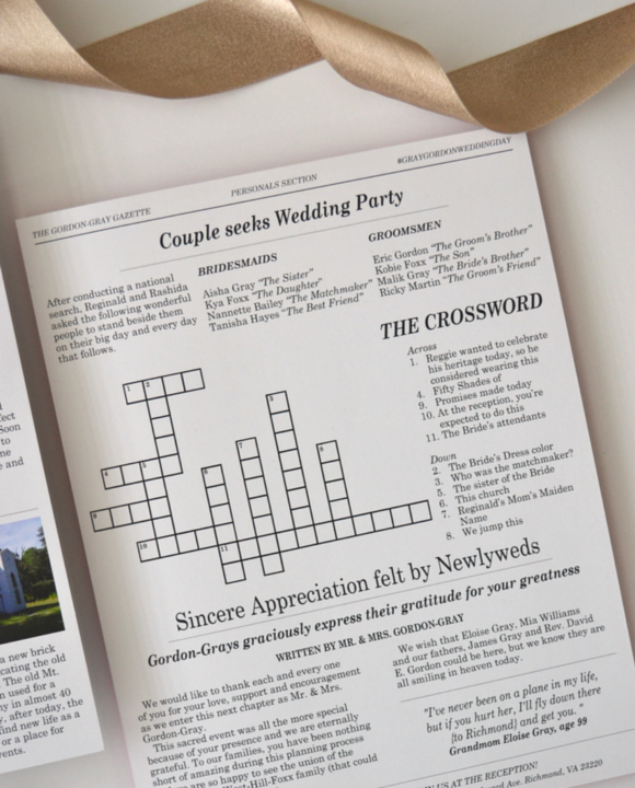 Crossword Puzzle on Newspaper Wedding Ceremony Programs by Greatest Story Weddings