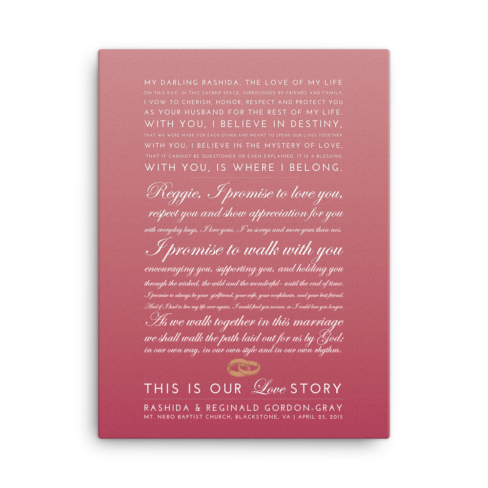 Custom Love Story Wedding Reception Canvas by Greatest Story Weddings