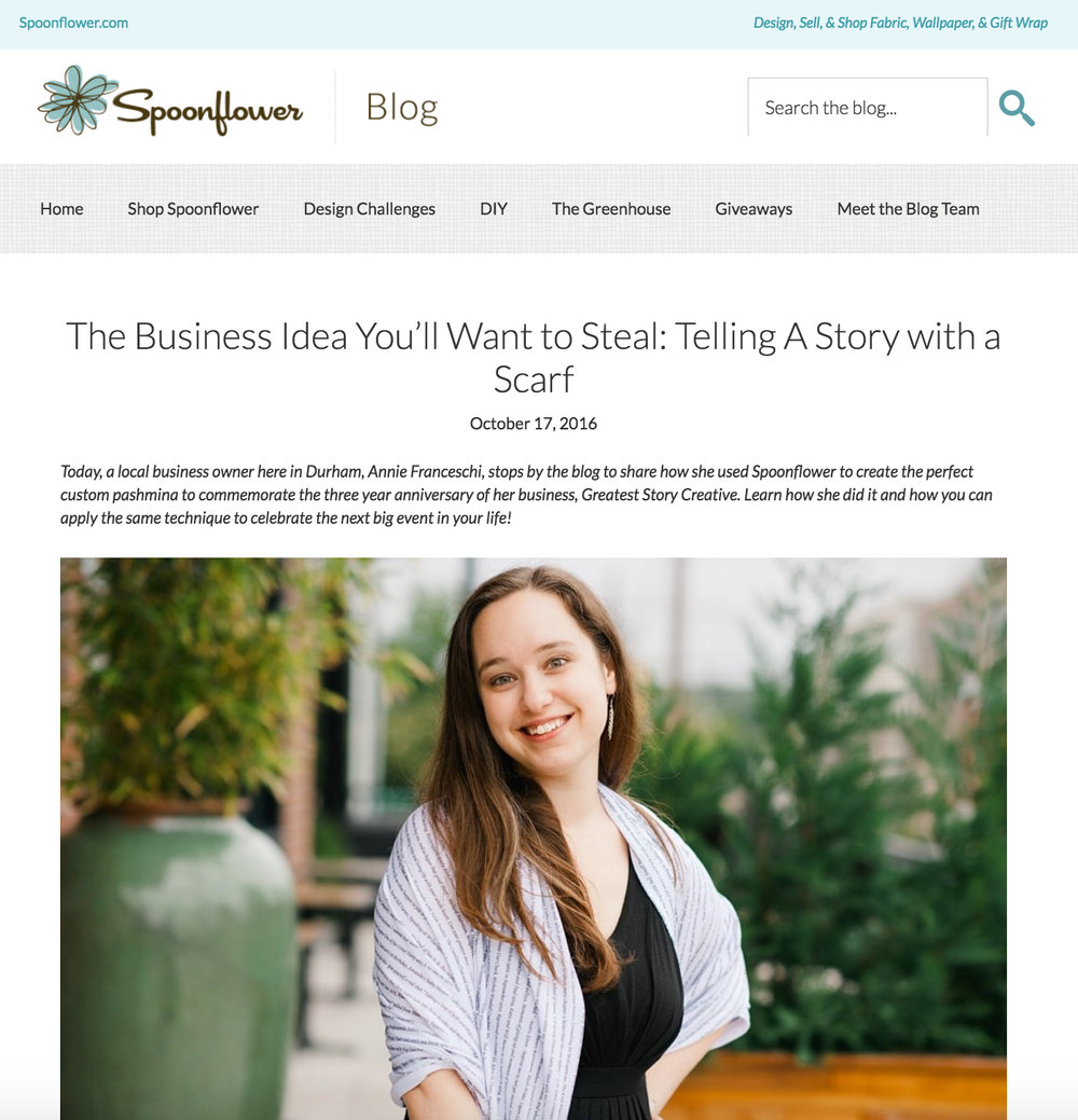 Our DIY Business Anniversary Scarf is featured on Spoonflower's Blog | Greatest Story for Business