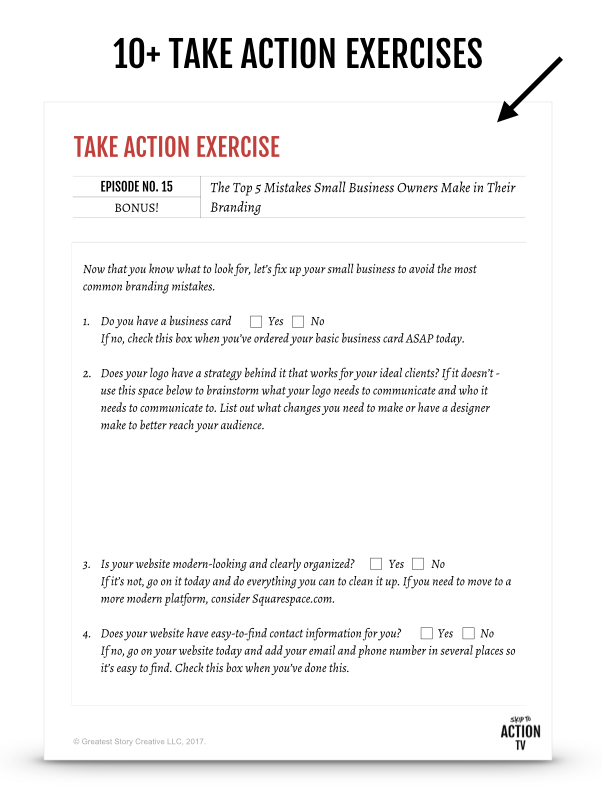 Bonus Workbook for Skip to Action TV | Greatest Story Creative