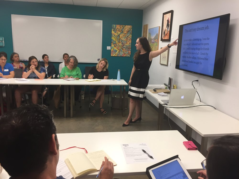 Annie Franceschi leading a workshop on small business branding in Durham, NC