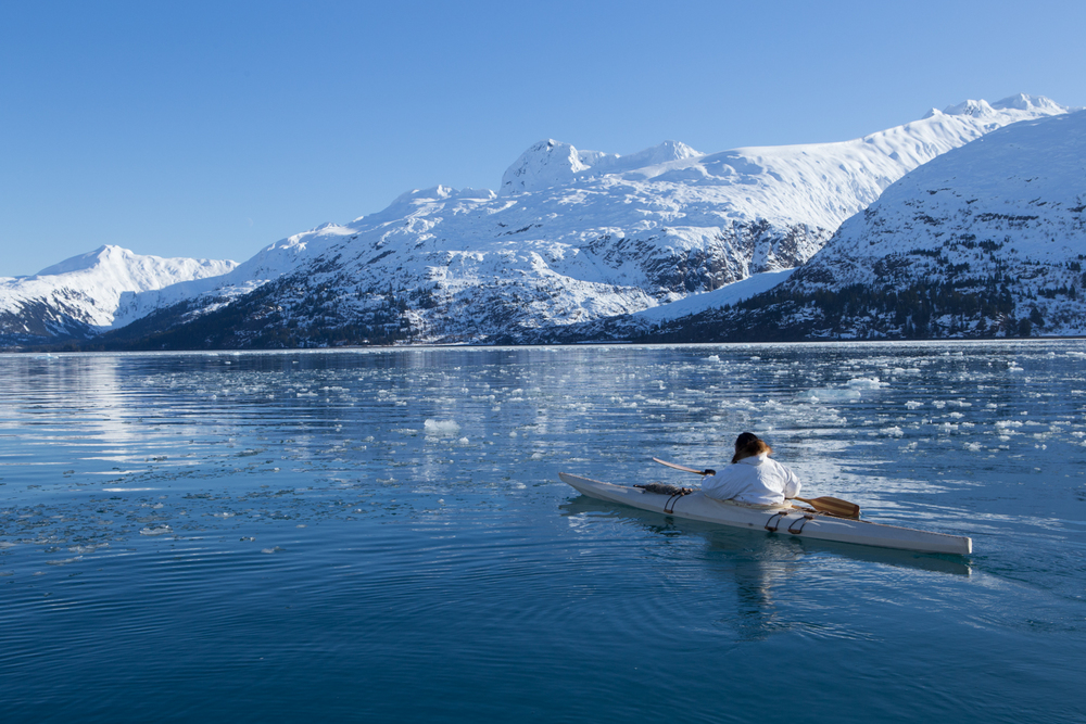 Paddling out of Blackstone Bay in Prince William Sound.