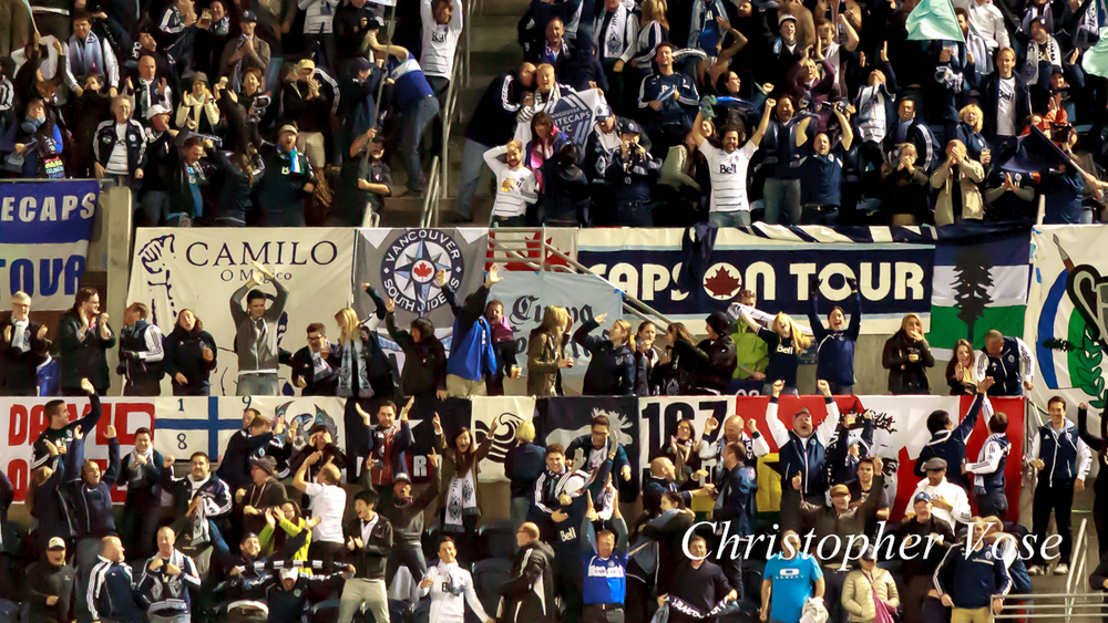 2013-10-09 Curva Collective, Rain City Brigade, and Vancouver Southsiders Goal Reaction (Reo-Coker).jpg