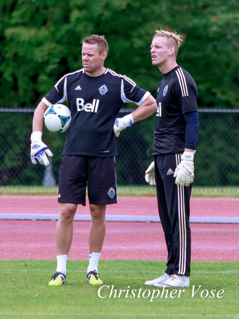 Marius Røvde and David Ousted practice their confused looks at the National Soccer Development Centre on 24 June 2013.