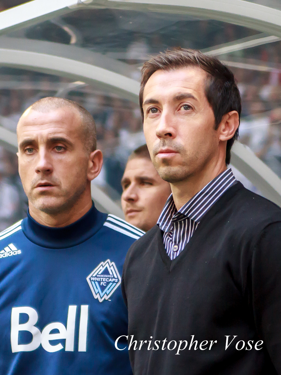 Paul Ritchie and Martin Rennie in the dugout at BC Place on 23 September 2012.