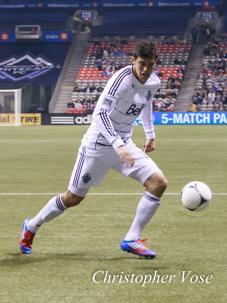 Omar Salgado chases the ball at BC Place on 18 April 2012.