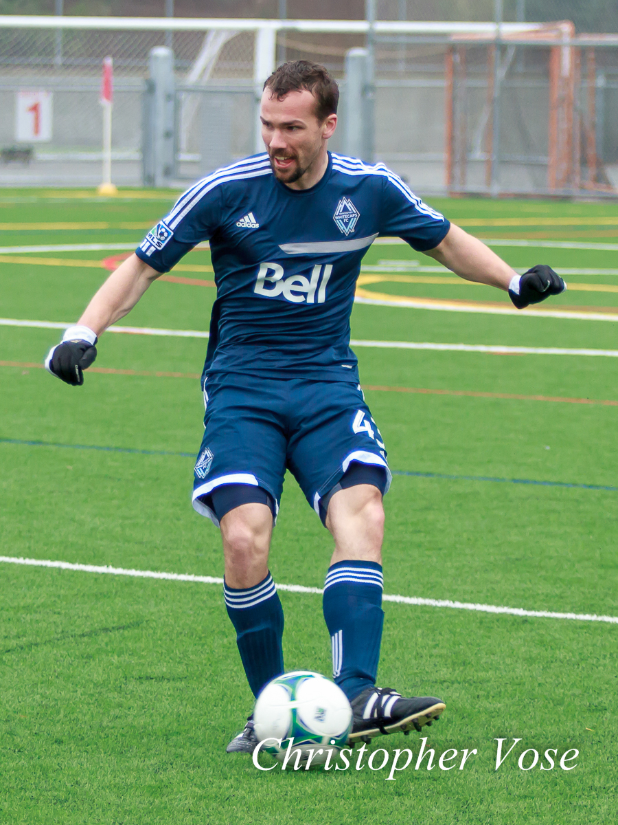 Jacob Lensky passes the ball at the Burnaby Lake Sports Complex on 11 February 2013.