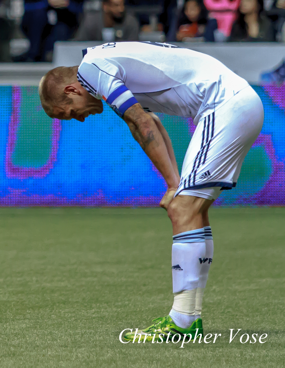 An exhausted Jay DeMerit finally takes a moment after the final whistle at BC Place on 8 September2013.
