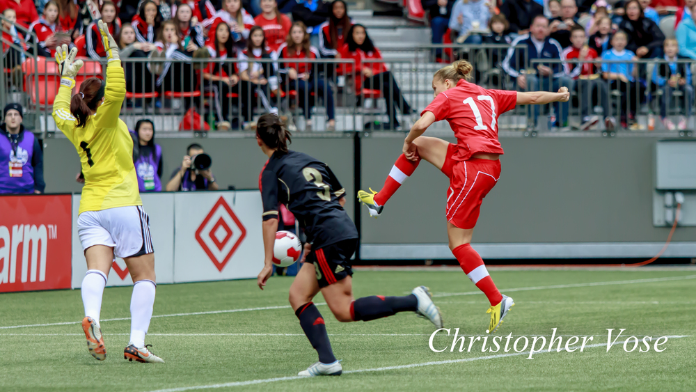 Brittany Baxter's goal was judged to be scored from an offside position at BC Place on 24 November 2013.
