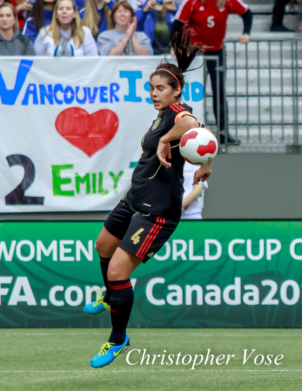Controversially, Alina Garciamendez was judged by the referee not to have handled the ball in the box at BC Place on 24 November 2013.