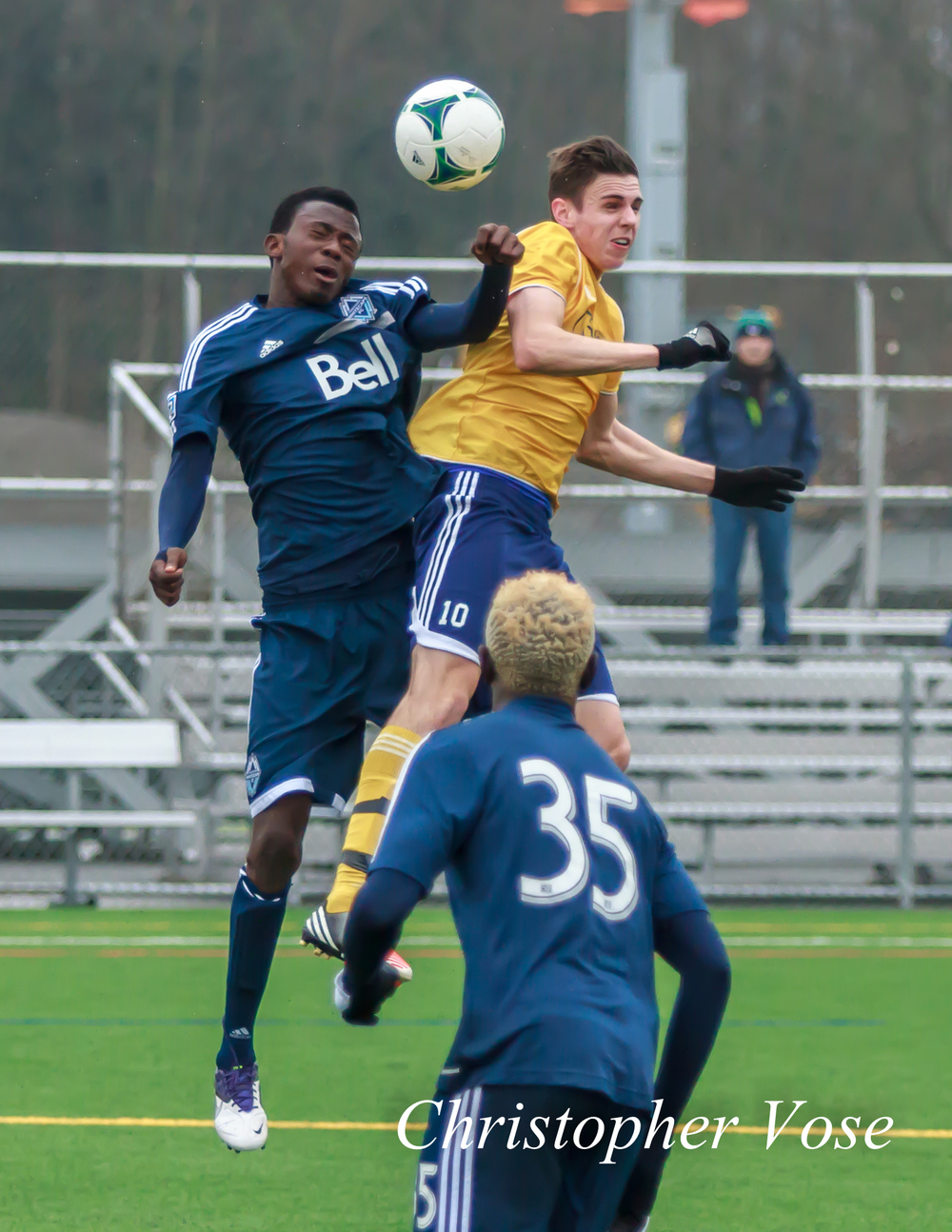 Aminu Abdallah and Brayden Gant battle for the ball at the Burnaby Lake Sports Complex on 11 February 2013.