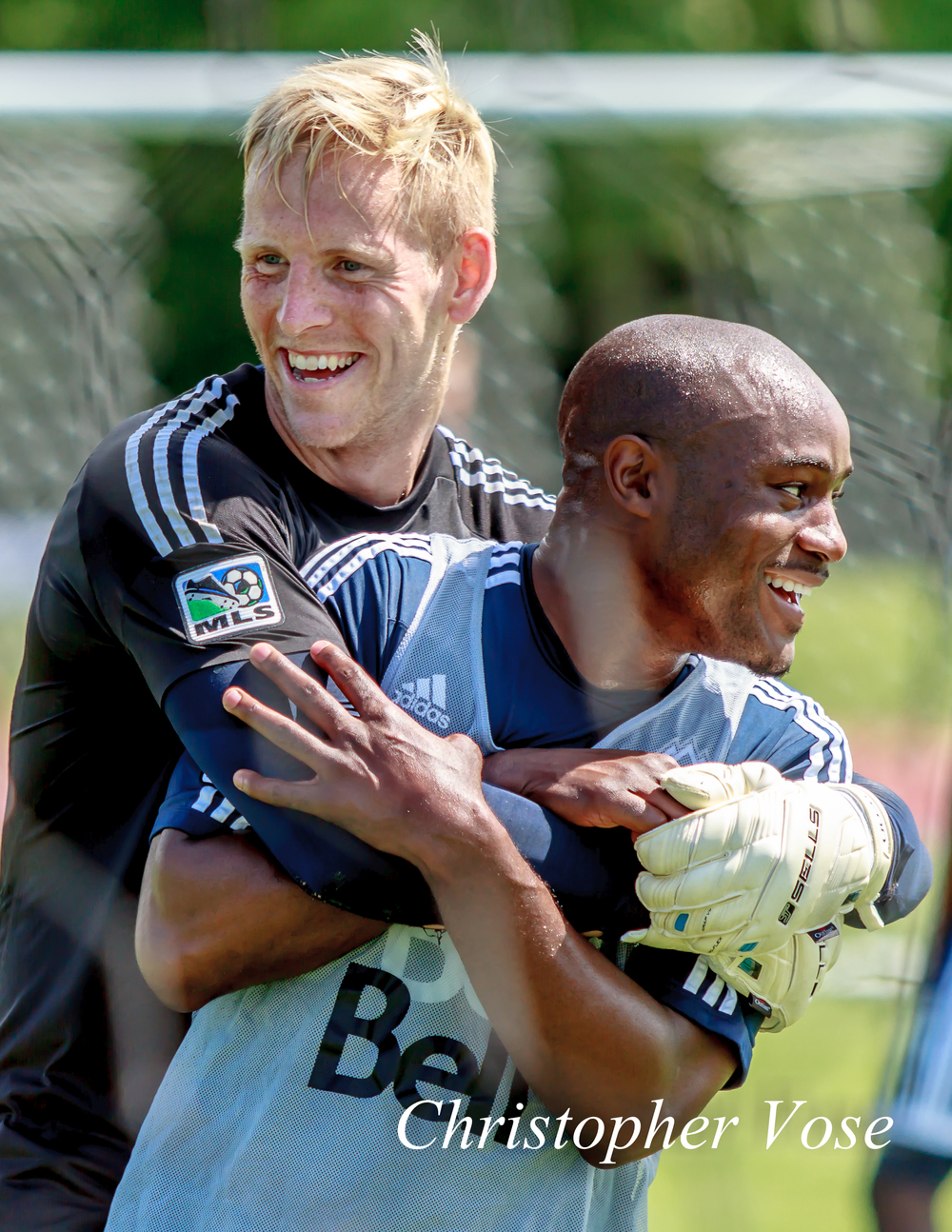 David Ousted and Nigel Reo-Coker horsing around at the National Soccer Development Centre on 10 July 2013.
