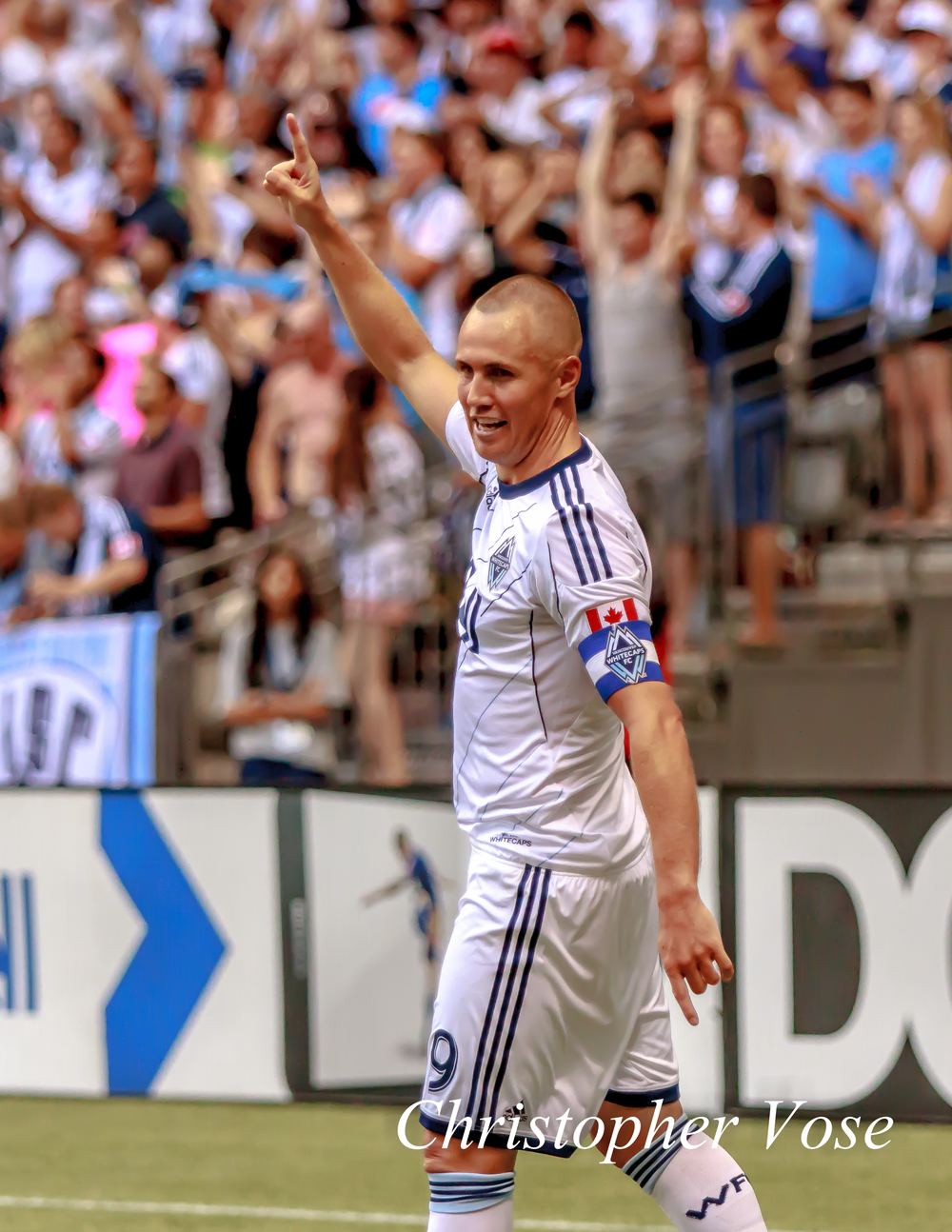 Kenny Miller celebrates scoring a goal at BC Place on 10 August 2013.
