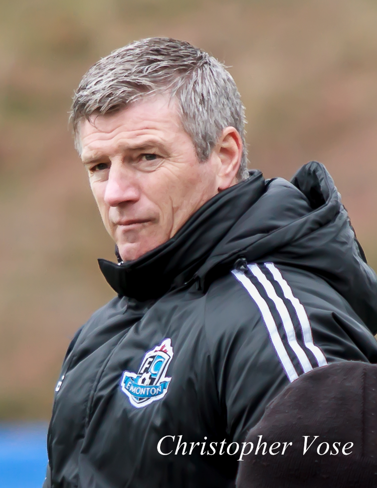 FC Edmonton manager Colin Miller after the Rabbits concede a goal at Thunderbird Stadium on 29 March 2014.