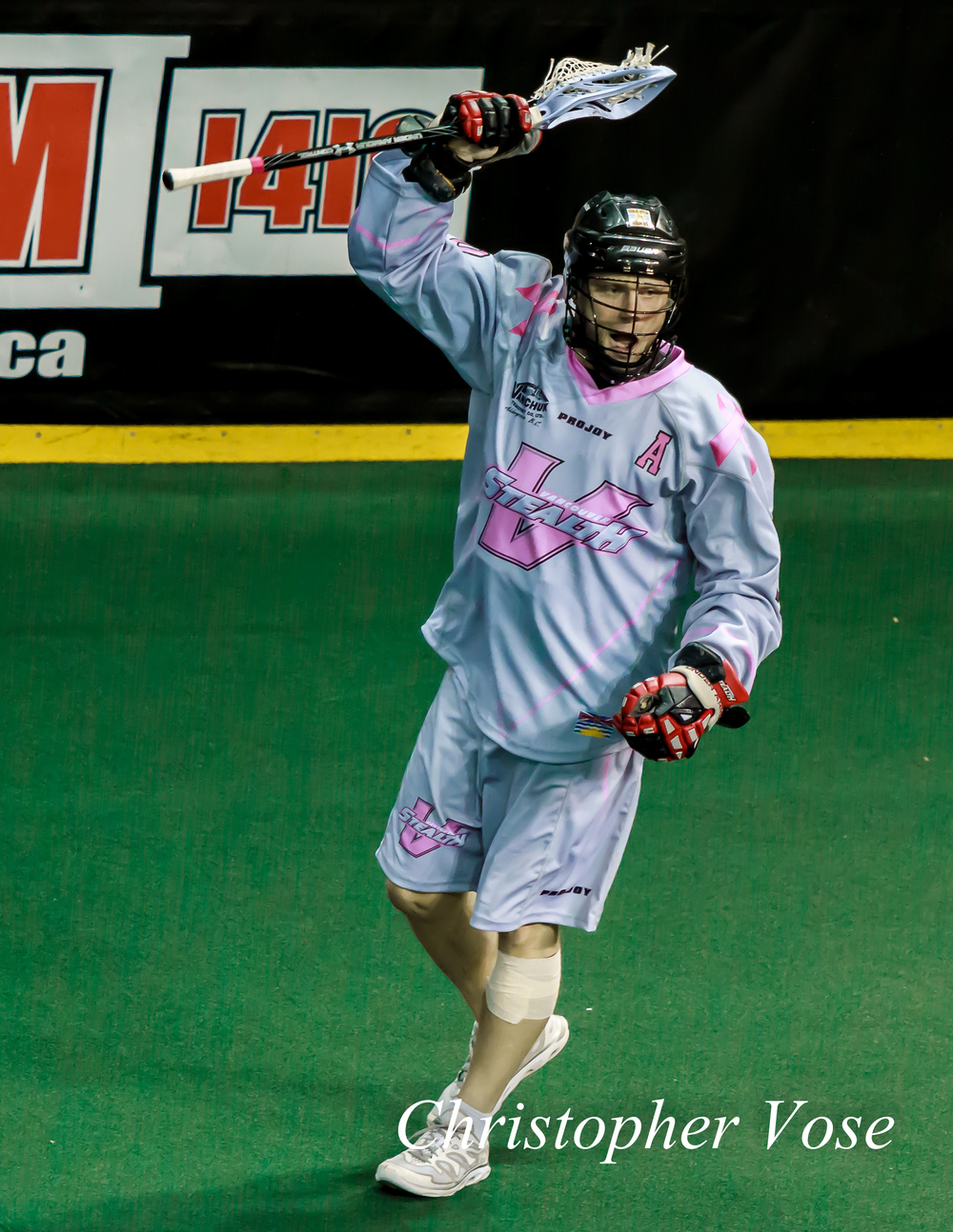 Rhys Duch after scoring the first of four goals against the Buffalo Bandits at the Langley Events Centre on 29 March 2014.