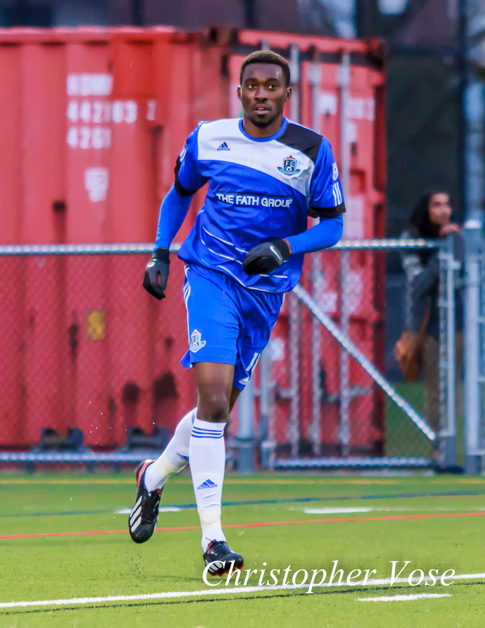 Tomi Ameobi at Panther Field in Abbotsford on 26 March 2014.