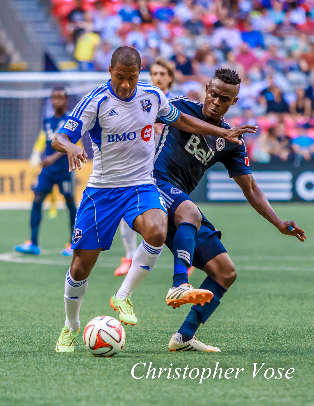 Gershon Koffie battled with Patrice Bernier early and often at BC Place on Wednesday night.