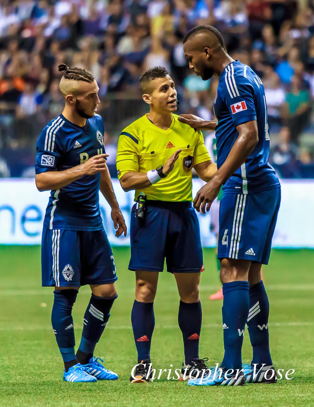 2014-08-30 Russell Teibert, Armando Villarreal, and Kendall Waston.jpg