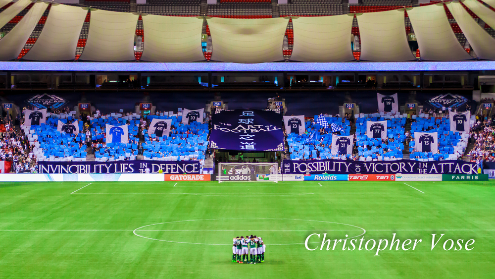 The Curva Collective, Rain City Brigade, and Vancouver Southsiders prepared an awe-inspiring welcome for the Portland Timbers on Saturday night at BC Place.