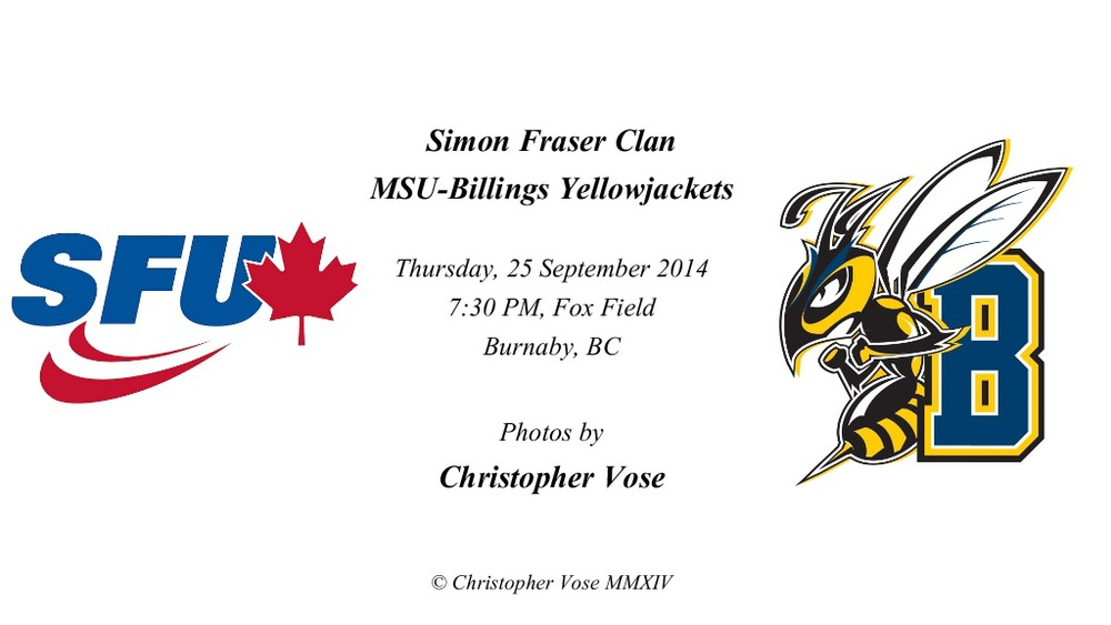 2014-09-25 Round 02; Simon Fraser Clan v MSU-Billings Yellowjackets.jpg