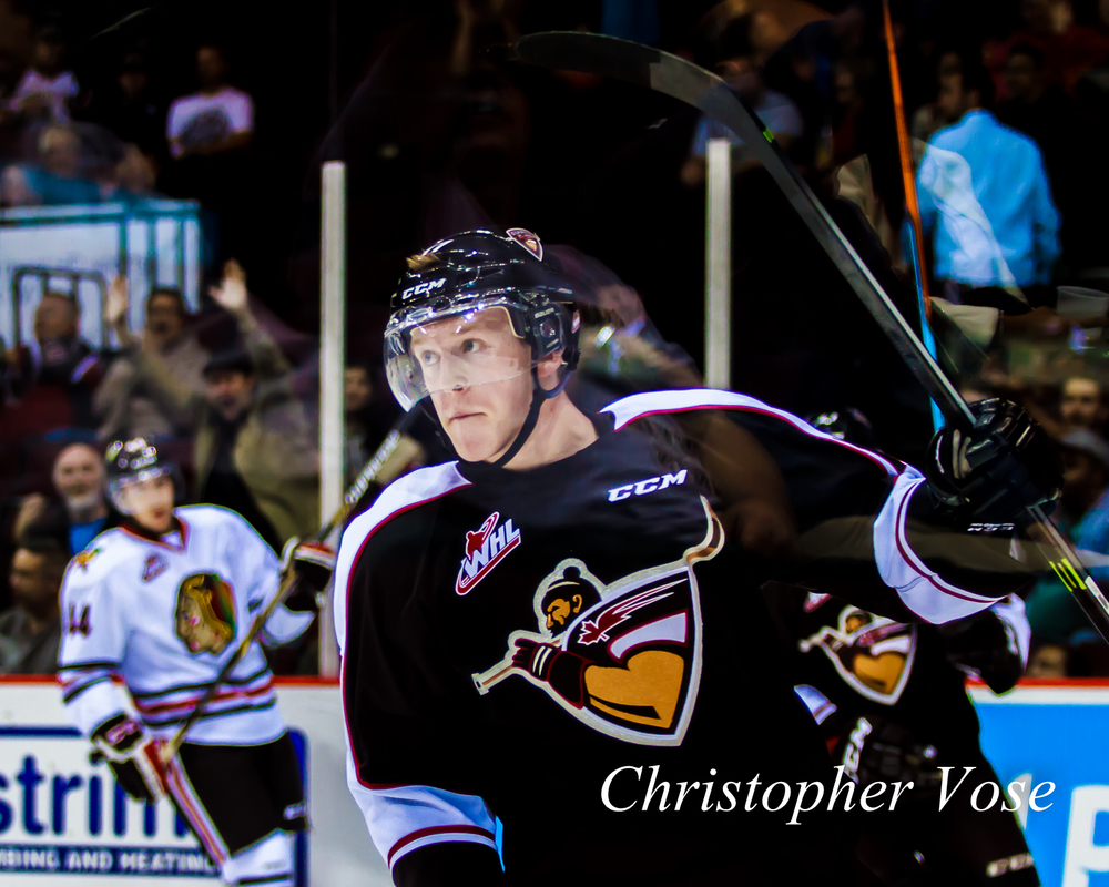 Tyler Benson celebrates after scoring his first ever Western Hockey League goal.
