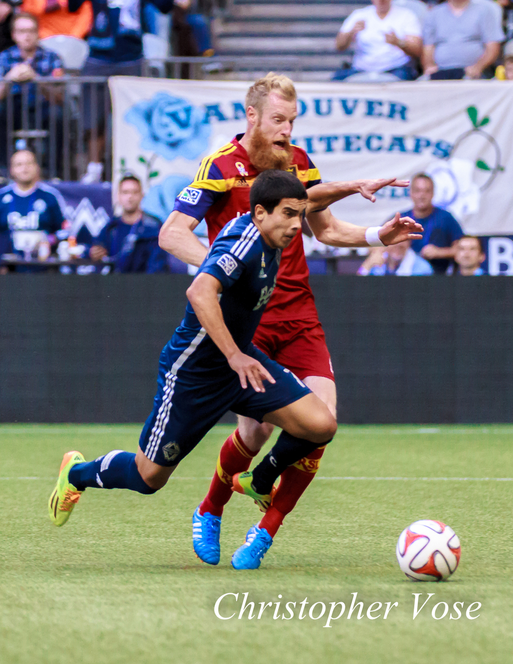 Nat Borchers and Sebastián Fernández collide in the Real Salt Lake penalty box. Referee Allen Chapman saw nothing wrong with this.