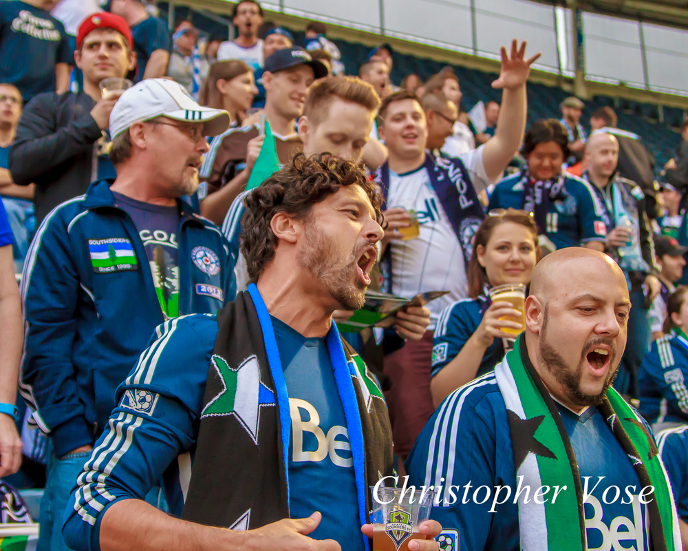 The Curva Collective, Rain City Brigade, and Vancouver Southsiders followed the Whitecaps down to Seattle.
