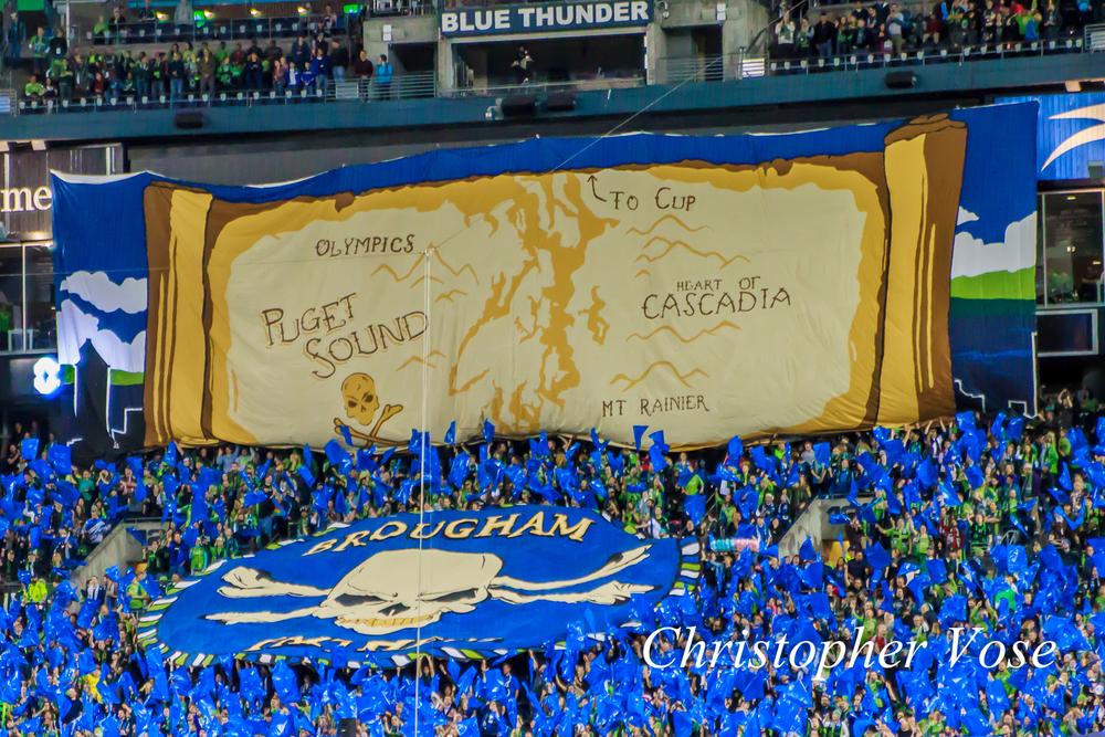 2014-10-10 Emerald City Supporters and Gorilla FC Tifo 1.jpg