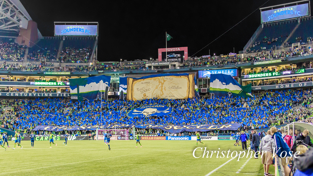2014-10-10 Emerald City Supporters and Gorilla FC Tifo 2.jpg
