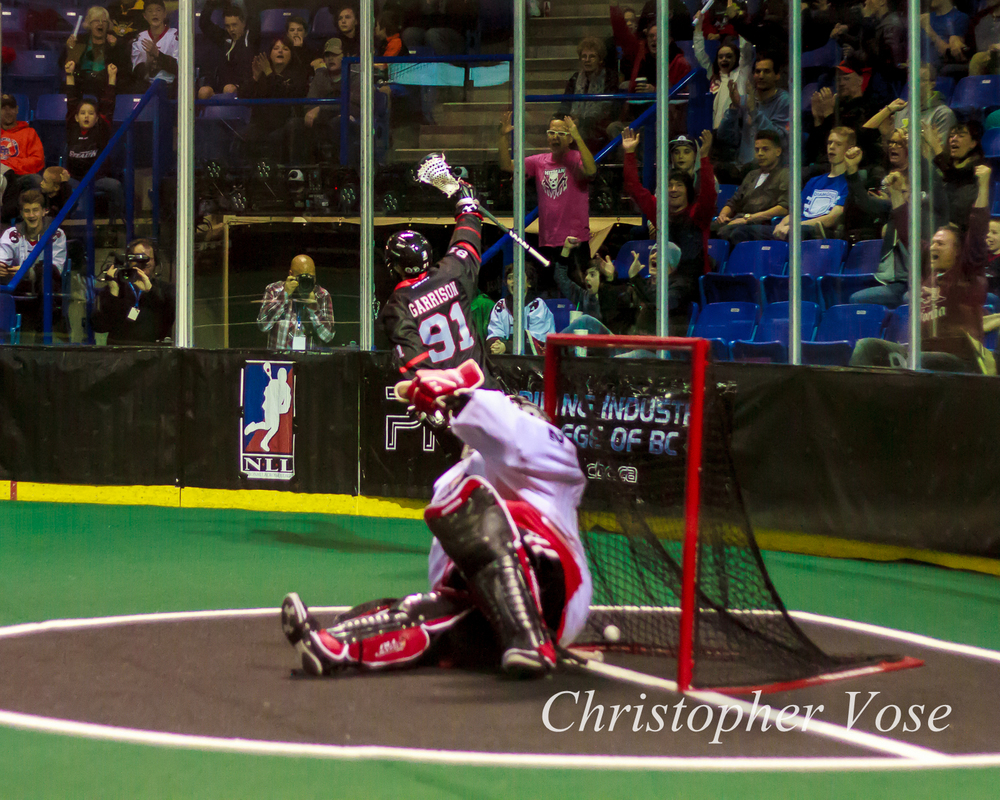 Tyler Garrison starts the four-goal, 83-second landslide that buried the Roughnecks.