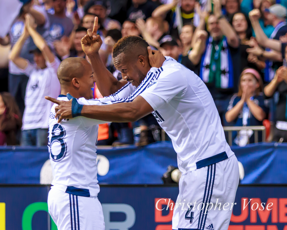 2015-03-28 Robert Earnshaw and Kendall Waston Goal Celebration.jpg