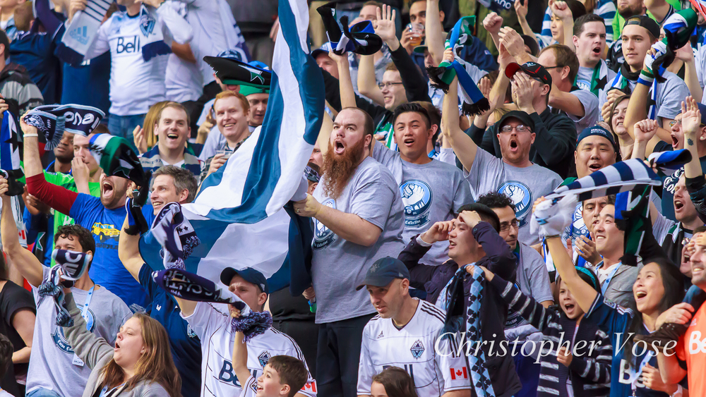 The Curva Collective celebrate Nicolás Mezquida's goal at BC Place.