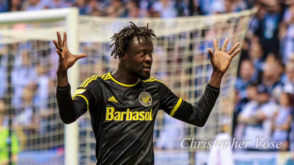 Kei Kamara celebrates his first goal in front of the Curva Collective.