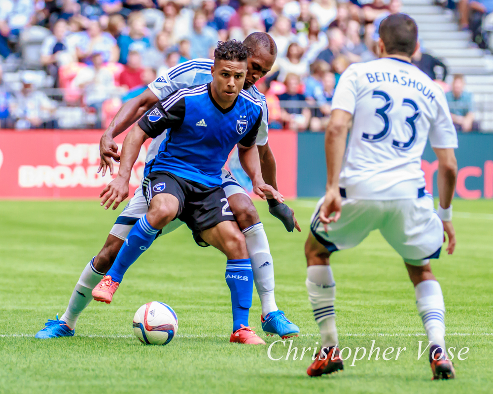 2015-07-26 Quincy Amarikwa, Kendall Waston, and Steven Beitashour.jpg