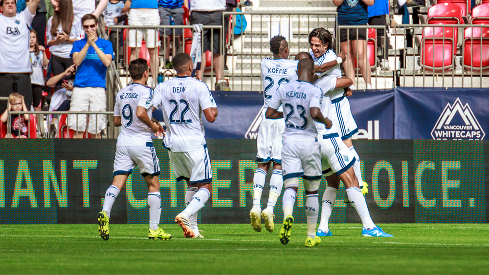 The Whitecaps celebrate after Kendall Waston's header puts them up 2-0 over San Jose.