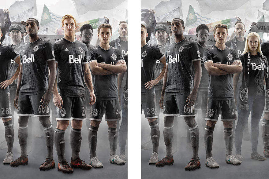 Before and after of the 2017 Unity Kit graphic from WhitecapsFC.com