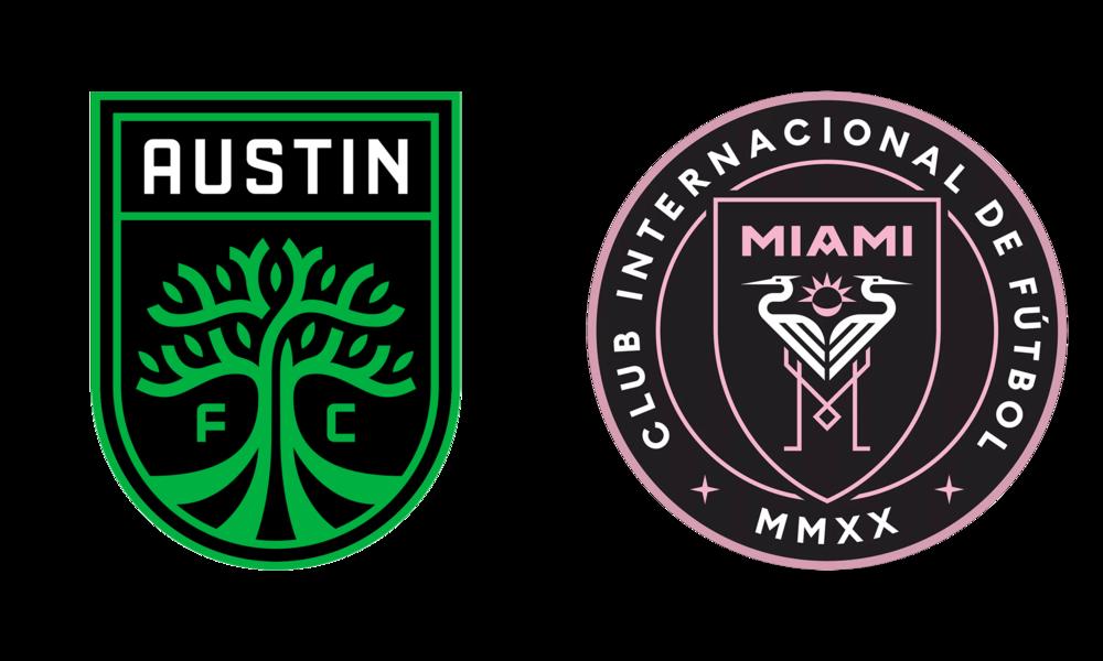 Austin FC and Inter Miami CF's badges