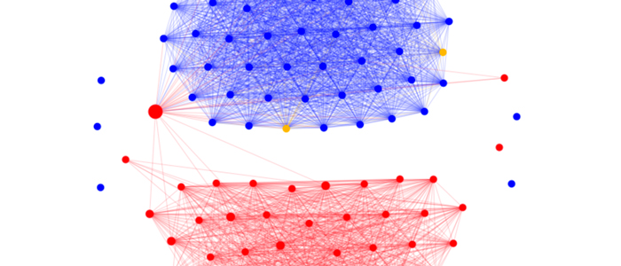 Network graph showing connections within United States Senate  Class project  Network visualization depicting connections within the United States Senate.  Source:  Govtrack.us